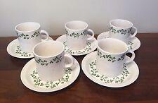 Arklow Ireland WILD SHAMROCK Cup & Saucer Mug ~ Set of 5