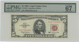 1963 $5 Legal Tender FR#1536 PMG 67 EPQ Superb Gem