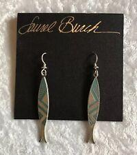 Laurel Burch Aqua Blue Relic Cloisonné Drop Earrings Silver Tone  (A676)