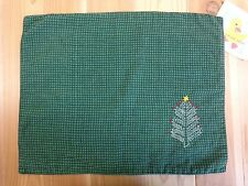 Placemats Set of 4 GREEN Gingham Fabric Christmas Tree Embroidered Holiday Decor