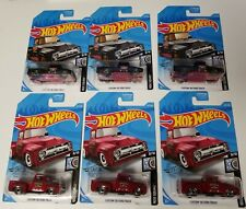 HOT WHEELS CUSTOM 1956 FORD TRUCK BLACK AND RED LOT OF 6 HW ROD SQUAD
