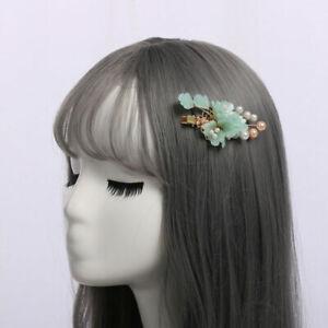 Lolita Girls Hair Clip Cosplay Hair Accessories Headwear Green Floral