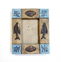 """Beach Seashell Fish Photo Frame Holds 2.5""""x3.5"""" Picture Textured Resin Tile"""