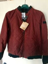 Barbour Rogue Bomber Rust Waxed Leather Trim Jacket Slim Fit Sz UK 16 RRP £449