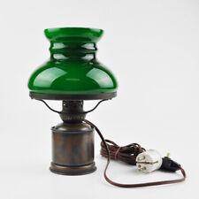 Petroleumlampe - elektrisch - Kupfer - Lampenschirm grün - elektrifiziert