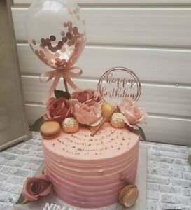 ROSE GOLD BALLOON CAKE TOPPER CONFETTI WEDDING PARTY BIRTHDAY BRIDAL GARLAND