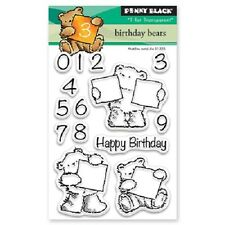 PENNY BLACK RUBBER STAMPS CLEAR BIRTHDAY BEARS NEW clear STAMP