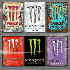 Monster Energy Plaque Ultra Red Violet White Sign Metal Tin Signs / Paper 300gsm