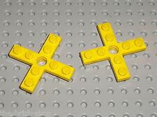 2 x LEGO VINTAGE yellow Propellor 4 Blade ref 3461 / Set 722 1914 1469 1608 ...