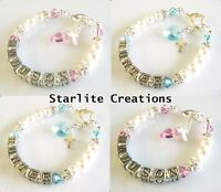 Baby Girls / Boys Personalised Name Bracelet Christening Baptism Birthday