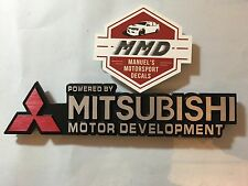 Mitsubishi Metal Emblem Powered By Mitsubishi Motor Development Badge Decal RARE