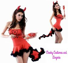 Devil Halloween Fancy Dress Costume Size 10-12 Includes Dress and Horns