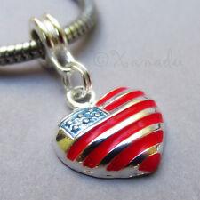American Flag Heart European Charm - Red White Blue Pendant Bead For Bracelets