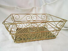 Vintage golden Wire Basket with woven bottom