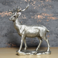 More details for antique effect silver deer sculpture stag statue  country house ornament