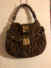 Miu Miu Matelasse Woven Handle Push Key Lock  Handbag Suede Leather Designer Bag