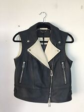 =ROCKSTAR= BELSTAFF Black Beige Motorcycle Biker Leather Vest Jacket Coat US6