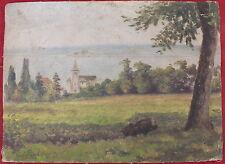 petite peinture huile sur toile signe A.Pierre eglise vue sur mer   (8)