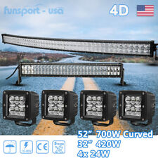 Curved 52Inch LED Light Bar +32in +4'' Pods Offroad Driving SUV Truck 4X4WD 54''