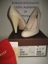 $395 NEW BALLY US 9.5 Ivory Patent Leather Classic Pump High Heels Shoes Detects
