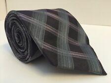 Calvin Klein Mens Neck Tie 100% Silk Diagonal Plaid Dark Slate Gray Lavender