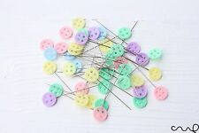 40 x 45mm Button Sewing Pins Pastel Flat Head Dressmaking Quilting Craft Serging
