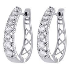 "10K White Gold Genuine Diamond Huggies Ladies Oval Hoop Earrings 0.95"" 1.50 CT"
