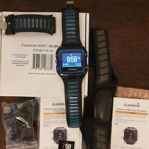 Garmin Forerunner 920XT Multisport GPS Watch - Black/Blue & Heart Rate Strap.