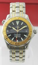 RARE OMEGA SEAMASTER 2453.50 18K GOLD BEZEL DIVER AUTOMATIC MIDSIZE BLACK WATCH