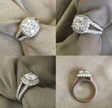 Shank Engagement Ring 14K White Gold 2Ct Cushion White Moissanite Halo 2