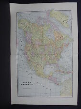 Map, North America, 1899 George F. Cram Double Sided W17#77
