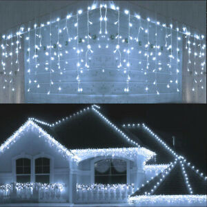 LED Wave Curtain Icicle String Fairy Light Christmas Xmas Party Outdoor Decor 4M