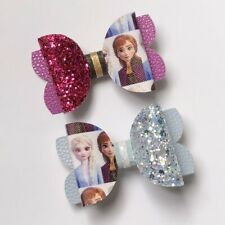 Frozen II sisters Anna Elsa 2pc set Glitter Bows Hair Clips party/school/gift