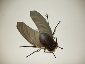 ~Midcentury Italian Brutalist Wrought Iron Fly Green Wings Sconce Wall Light~