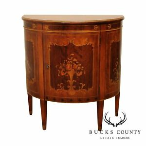 Imperial of Grand Rapids Marquetry Decorated 1930's Demilune Console Cabinet