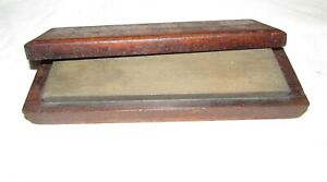 sharpening stone in wooden box / case old woodworking tool stone tool