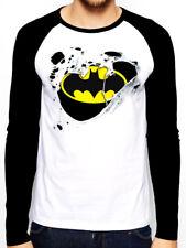 Classic Batman Logo Ripped Torn Effect Mens Baseball Shirt Long Sleve T-Shirt M