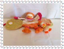 M - Doudou Livre Banjo l'Oiseau Orange Rose ......Doudou et Compagnie