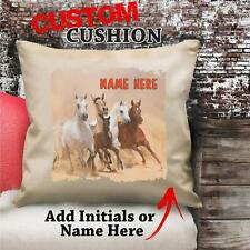 Personalised Wild Horse Galloping Vintage Cushion Custom Canvas Cover Gift NC206