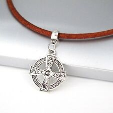 Silver Round Knights Shield Templar Cross Pendant Brown Leather Choker Necklace