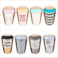 Christmas Ceramic Travel Mug Double Walled Coffee Tea with Silicone Lid Insulate