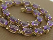 Genuine 9K SOLID Gold NATURAL Amethyst Line Bracelet Tennis 12.0cts 18.5cm long
