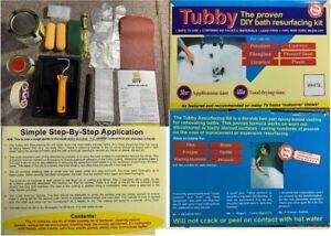 TUBBY WHITE CERAMIC BATH RESURFACING DIY KIT PORCELAIN CASTIRON ENAMEL STEEL
