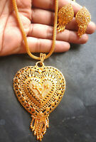 22K Gold Plated Indian 16'' Long Chain Pendant and earrings Party Set Bridal .a