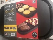Nordicware Nonstick Reversible 2 Burner Grill Griddle- Heavy Castaluminum-New!