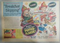 "Kix Cereal Ad: Stops ""Breakfast Skipping"" from 1930's-1940's 11 x 15 inches"