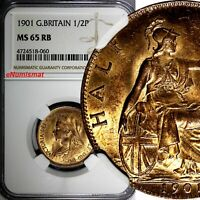 GREAT BRITAIN Victoria (1837-1901) Bronze 1901 1/2 Penny NGC MS65 RB KM# 789