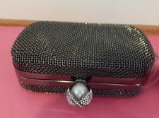 Metallic Wire Mesh Clutch with Pearl Diamante Clasp - BNWT - Gold & Pewter Avail