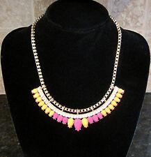 Kenzie~Matte Gold Bike Chain~Pink Orange Clear Stone~Statement Necklace~$48