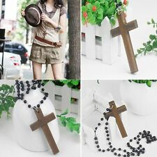 Pendant Cross Necklace Necklaces Wooden Cross Necklace Black Beads Pendants